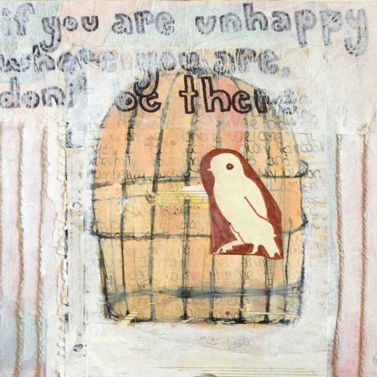 """Think Outside the Cage (mixed media on canvas 12"""" x 12"""")"""