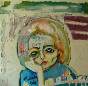 painting of woman mixed media