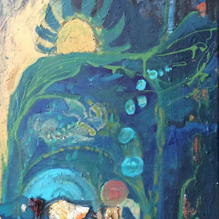 "Underwater (mixed media on canvas - 18"" x 23"")"