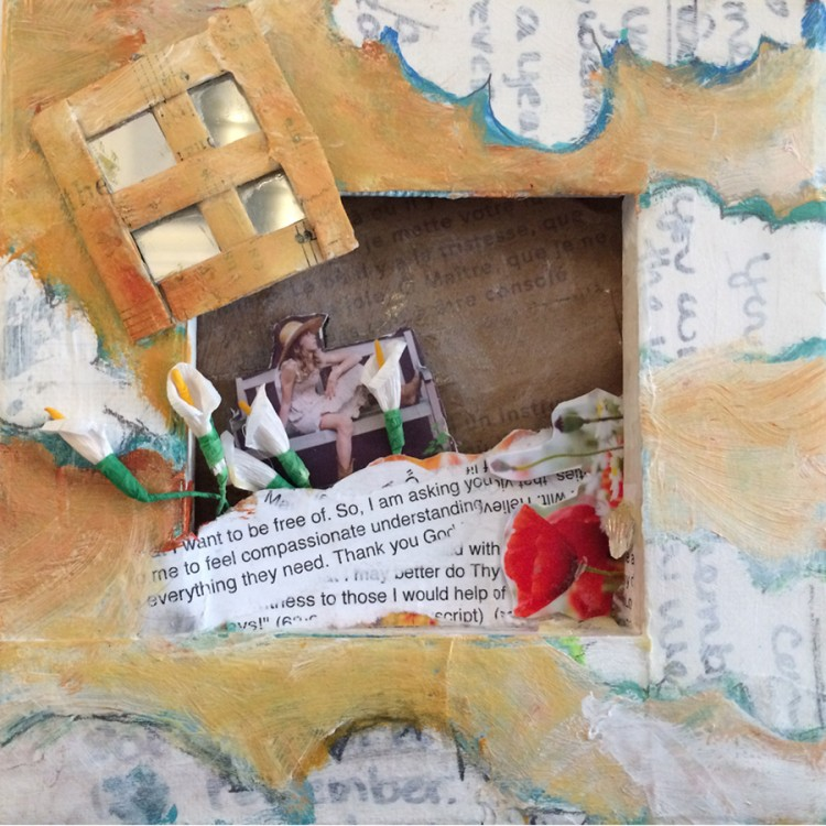"""Being Free(mixed media on canvas - 5"""" x 5"""")"""