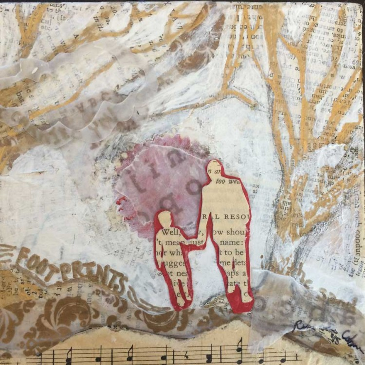 """Footprints (mixed media on canvas - 5"""" x 5"""")*not for sale"""