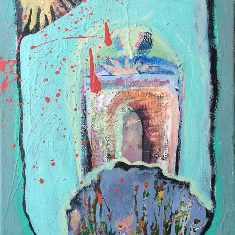 "Skewed Dream Kingdom (mixed media on canvas - 18""x23"")"
